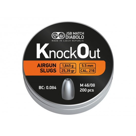 JSB KnockOut Slugs, .216 Cal, 25.39 gr - 200 ct